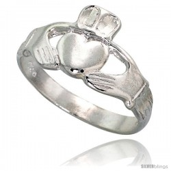 Sterling Silver Claddagh Ring for men and women 3/8 in wide