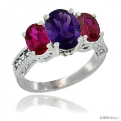 10K White Gold Ladies Natural Amethyst Oval 3 Stone Ring with Ruby Sides Diamond Accent