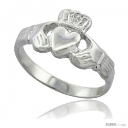 Sterling Silver Small Claddagh Ring 7/16 in wide