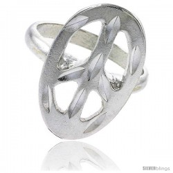 Sterling Silver Oval Peace Sign Ring Polished finish 1 in wide
