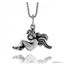 Sterling Silver Angel Pendant, 1/2 in Tall -Style 4p584