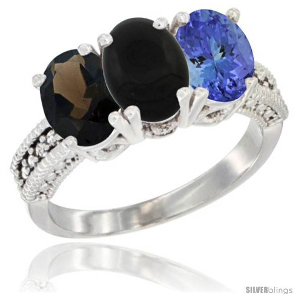 https://www.silverblings.com/195-thickbox_default/10k-white-gold-natural-smoky-topaz-black-onyx-tanzanite-ring-3-stone-oval-7x5-mm-diamond-accent.jpg