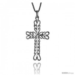Sterling Silver Cross Pendant, 1 3/8 in -Style 4p59