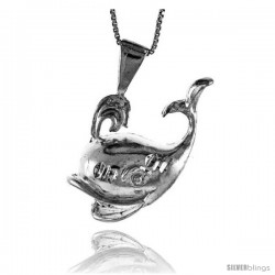 Sterling Silver Large Whale Pendant, 1 1/4 in Tall