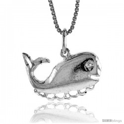 Sterling Silver Whale Pendant, 1/2 in Tall