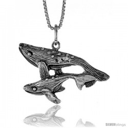 Sterling Silver Whale w/ Baby Pendant, 3/4 in Tall -Style 4p597