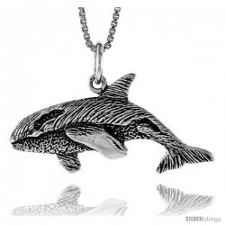 Sterling Silver Killer Whale Pendant, 1/2 in Tall
