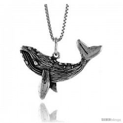Sterling Silver Whale Pendant, 1 in Tall -Style 4p599