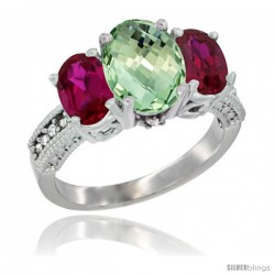 10K White Gold Ladies Natural Green Amethyst Oval 3 Stone Ring with Ruby Sides Diamond Accent