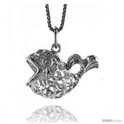 Sterling Silver Filigree Fish Pendant, 1/2 in Tall