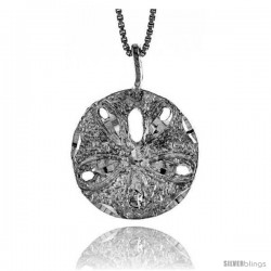 Sterling Silver Sand Dollar Pendant, 3/4 in tall