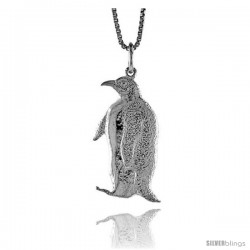 Sterling Silver Penguin Pendant, 1 in Tall