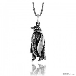 Sterling Silver Penguin Pendant, 1 in Tall -Style 4p605