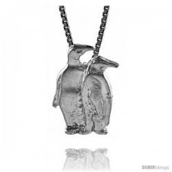 Sterling Silver Double Penguin Pendant, 3/4 in Tall