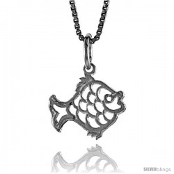 Sterling Silver Cut-out Fish Pendant, 1/2 in Tall
