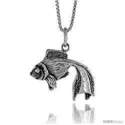 Sterling Silver Fighting Fish Pendant, 3/4 in Tall