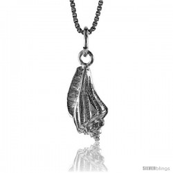 Sterling Silver Conch Shell Pendant, 5/8 in Tall