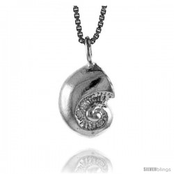 Sterling Silver Sea Shell Pendant, 1/2 in Tall