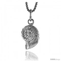 Sterling Silver Sea Shell Pendant, 1/2 in Tall -Style 4p612