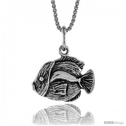 Sterling Silver Fish Pendant, 1/2 in Tall
