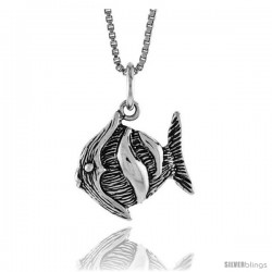 Sterling Silver Fish Pendant, 1/2 in Tall -Style 4p614