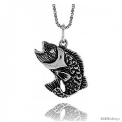 Sterling Silver Sea Bass Pendant, 5/8 in Tall