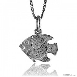 Sterling Silver Fish Pendant, 1/2 in Tall -Style 4p616