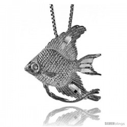 Sterling Silver Angel Fish Pendant, 7/8 in Tall.