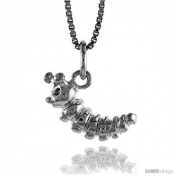 Sterling Silver Caterpillar Worm Pendant, 1/2 in Tall