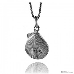 Sterling Silver Clam Shell Pendant, 1/2 in Tall