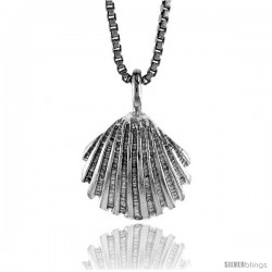 Sterling Silver Clam Shell Pendant, 1/2 in Tall -Style 4p621