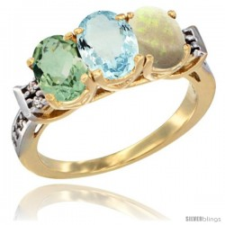 10K Yellow Gold Natural Green Amethyst, Aquamarine & Opal Ring 3-Stone Oval 7x5 mm Diamond Accent