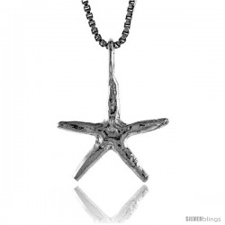 Sterling Silver Starfish Pendant, 1/2 in Tall