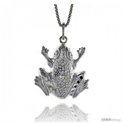 Sterling Silver Frog Pendant, 3/4 in Tall