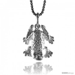 Sterling Silver Frog Pendant, 1/2 in Tall -Style 4p629