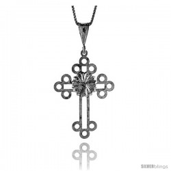 Sterling Silver Cross Pendant, 1 1/2 in -Style 4p63