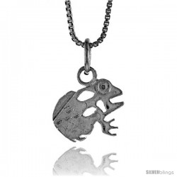 Sterling Silver Frog Pendant, 1/2 in Tall -Style 4p631