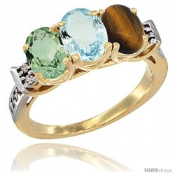 10K Yellow Gold Natural Green Amethyst, Aquamarine & Tiger Eye Ring 3-Stone Oval 7x5 mm Diamond Accent
