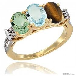 10K Yellow Gold Natural Green Amethyst, Aquamarine & Tiger Eye Ring 3-Stone Oval 7x5 mm Diamond Accent