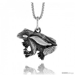 Sterling Silver Frog Pendant, 1/2 in Tall -Style 4p632
