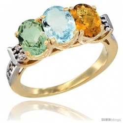 10K Yellow Gold Natural Green Amethyst, Aquamarine & Whisky Quartz Ring 3-Stone Oval 7x5 mm Diamond Accent