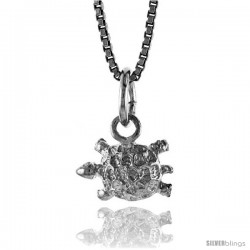 Sterling Silver Small Turtle Pendant, 5/16 in Tall