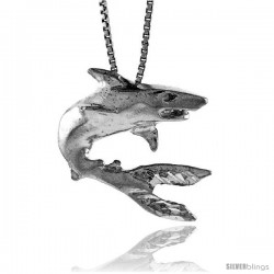 Sterling Silver Shark Pendant, 1 in Tall
