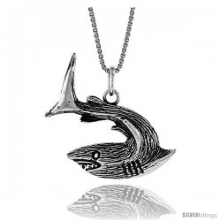Sterling Silver Shark Pendant, 1 in Tall -Style 4p644