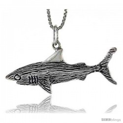 Sterling Silver Shark Pendant, 11/2 in wide