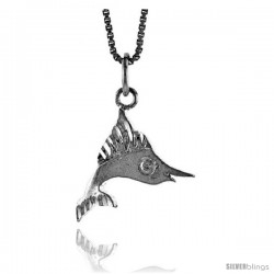 Sterling Silver Small Marlin Swordfish Pendant, 1/2 in Tall
