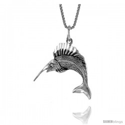 Sterling Silver Marlin Swordfish Pendant, 3/4 in Tall