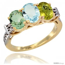 10K Yellow Gold Natural Green Amethyst, Aquamarine & Lemon Quartz Ring 3-Stone Oval 7x5 mm Diamond Accent