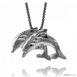 Sterling Silver Double Dolphin Pendant, 1/2 in Tall