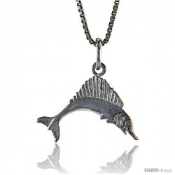 Sterling Silver Marlin Swordfish Pendant, 1/2 in Tall